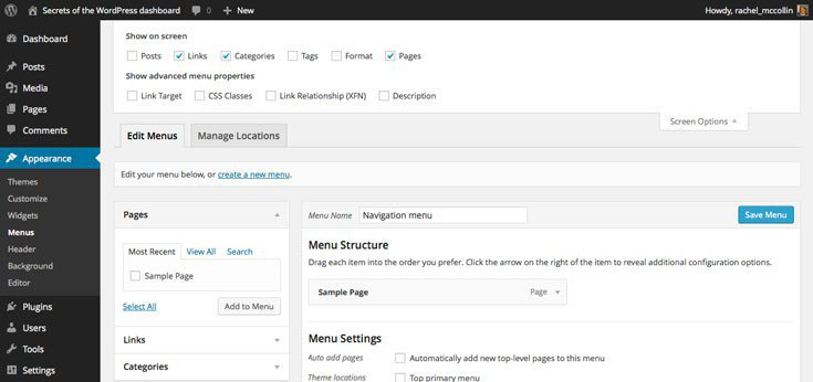WordPress adding content types to navigation menus using screen options