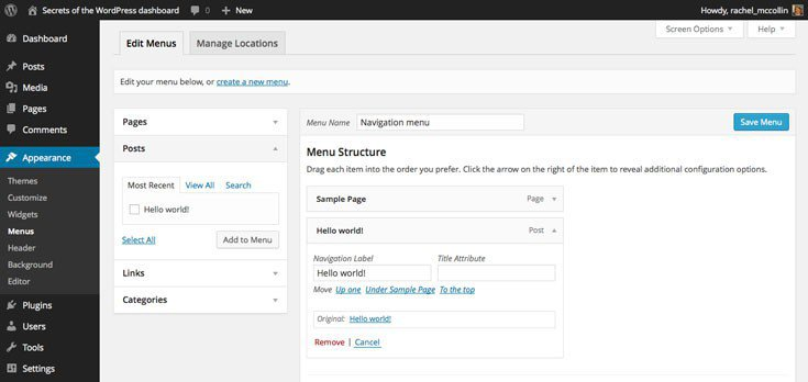 WordPress reordering menus without a mouse
