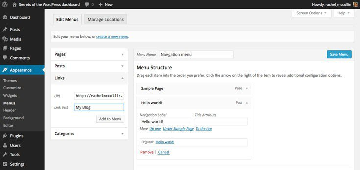 WordPress adding links as menu items