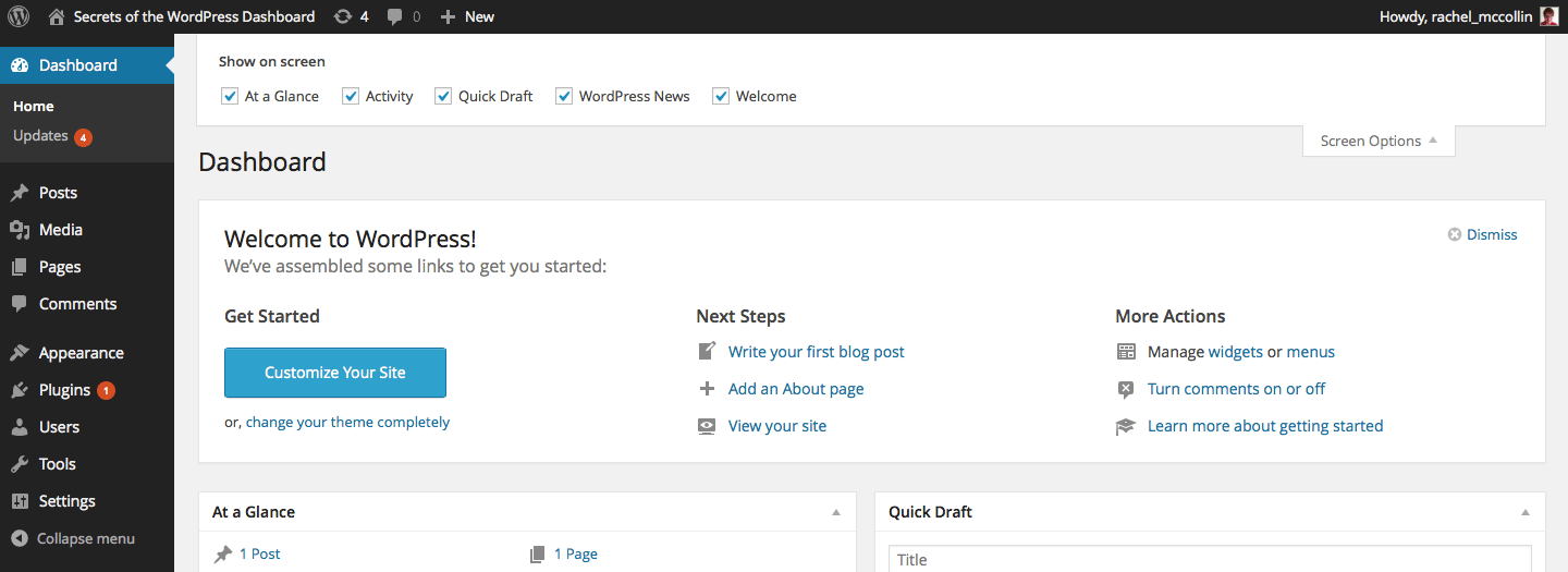 The WordPress Dashboard Welcome